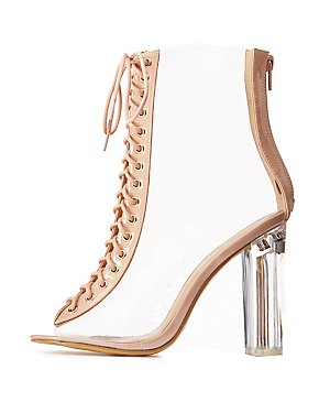 Clear Lace Up Lucite Heel Booties