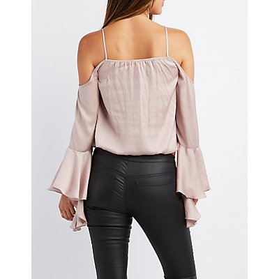 Bell Sleeve Notched Cold Shoulder Top