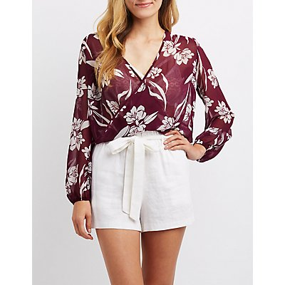 Floral Wrap-Front Backless Top