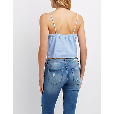 Pinstripe Embroidered Crop Top