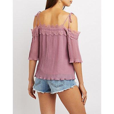 Lace-Trim Pleated Cold Shoulder Top