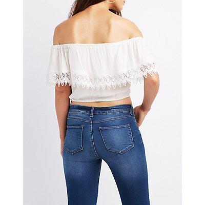 Crochet-Trim Off-The-Shoulder Crop Top