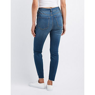 Refuge Step Hem Destroyed Skinny Jeans