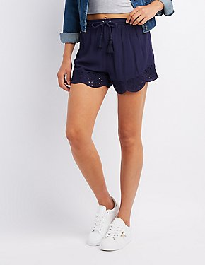 Embroidered Drawstring Shorts