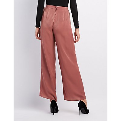 Satin Wide-Leg Trousers