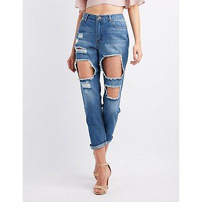 Destroyed High-Rise Boyfriend Jeans
