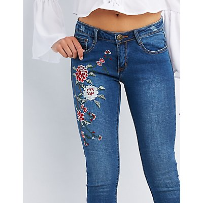 Machine Jeans Floral Embroidered Skinny Jeans