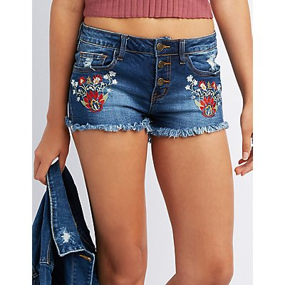 Machine Jeans Embroidered Cut-Off Denim Shorts