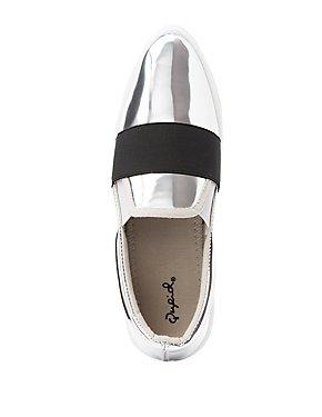 Qupid Pointed Toe Slip-On Sneakers