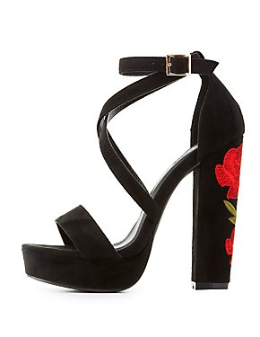 Rose Embroidered Platform Sandals