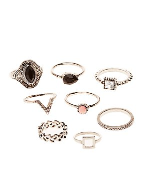 Faceted Stone Statement & Midi Rings - 8 Pack