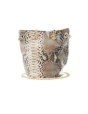 Faux Snakeskin Bucket Bag
