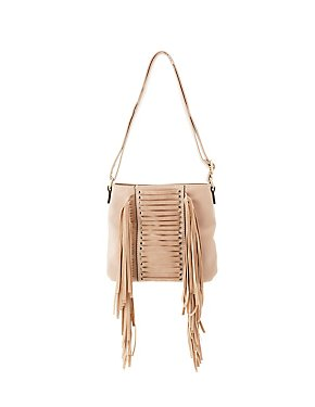 Caged & Fringe-Trim Crossbody Bag