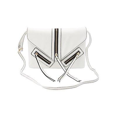 Zipper-Trim Crossbody Bag