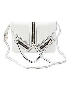 Zipper-Trim Crossbody Bag
