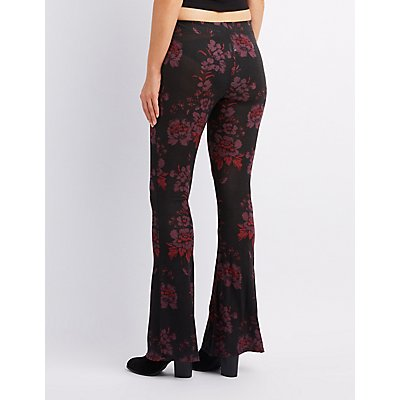 Floral Lace-Up Flare Pants