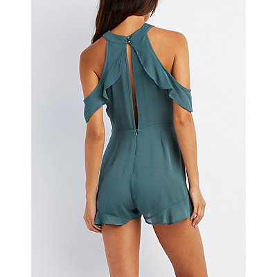 Gauze Ruffle-Trim Cold Shoulder Romper