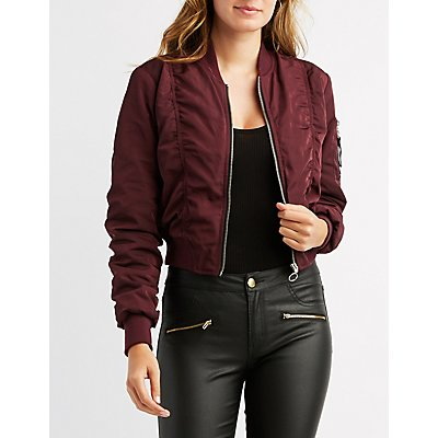Ruched Cropped Bomber Jacket