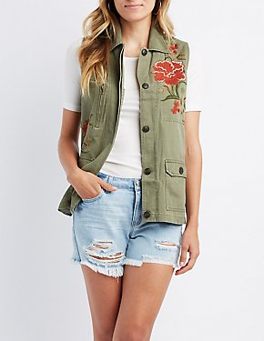 Floral Embroidered Utility Vest