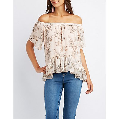 Floral Off-The-Shoulder Peplum Top