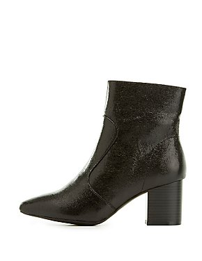 Crackled Pointed Toe Chelsea Boots