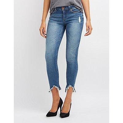 Frayed Hem Distressed Skinny Jeans