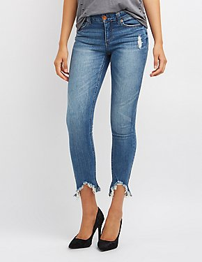 Frayed Hem Distressed Skinny Jeans