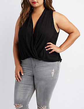 Plus Size Surplice Tunic Tank Top