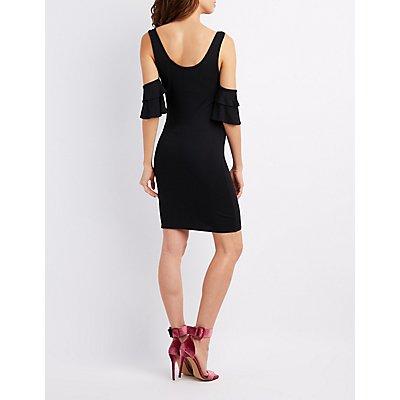 Ruffle Cold Shoulder Bodycon Dress