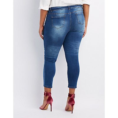 Plus Size Destroyed Patchwork Skinny Jeans