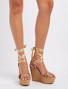 Embroidered Ribbon-Tie Wedge Sandals