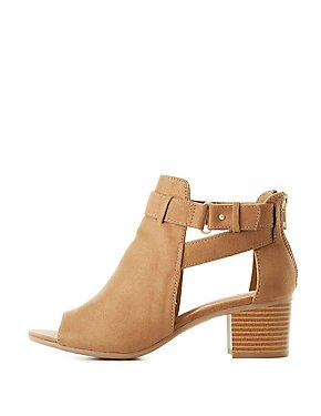 Belted Cut-Out Ankle Booties