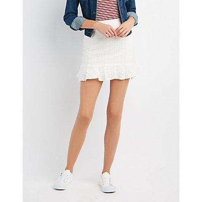 Embroidered Ruffle-Trim Skirt
