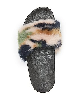 Camo Faux Fur Slide Sandals