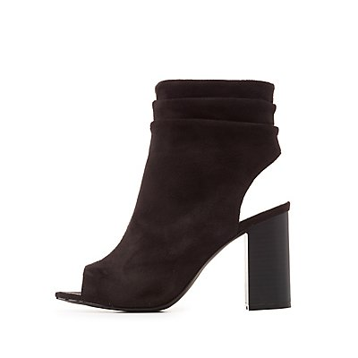 Ruched Ankle Peep Toe Booties