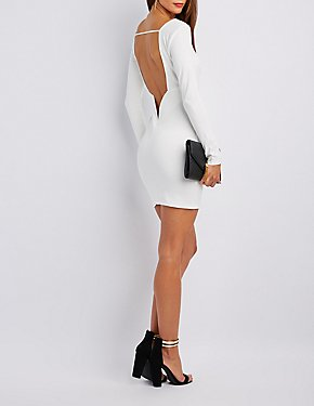 Plunging Open Back Bodycon Dress