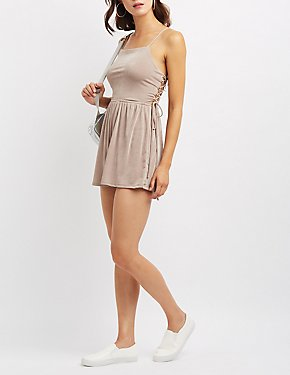 Bib Neck Lace-Up Back Romper