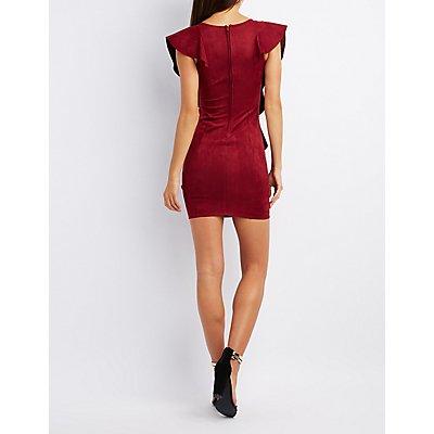 Faux Suede Ruffle-Trim Bodycon Dress