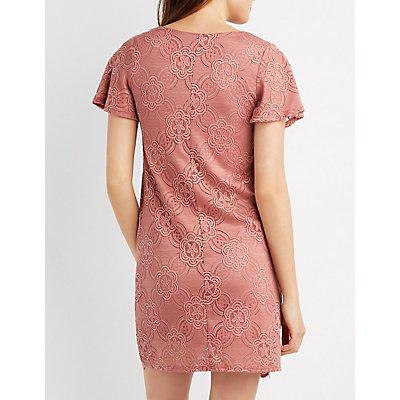 Lace Lace-Up Shift Dress