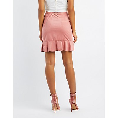 Faux Suede Ruffle-Trim Skirt