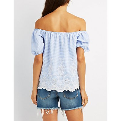 Embroidered Striped Off-The-Shoulder Top
