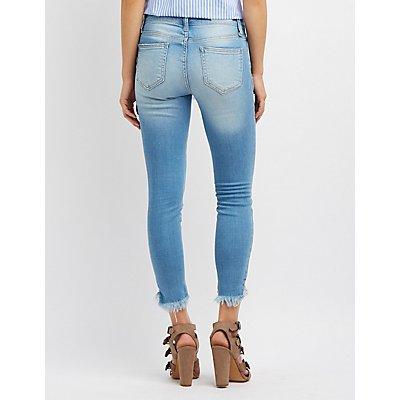 Cello Frayed Hem Skinny Jeans