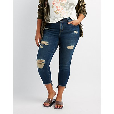 Plus Size Dollhouse Destroyed Skinnny Jeans