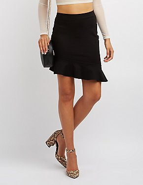 Asymmetrical Ruffle-Trim Skirt