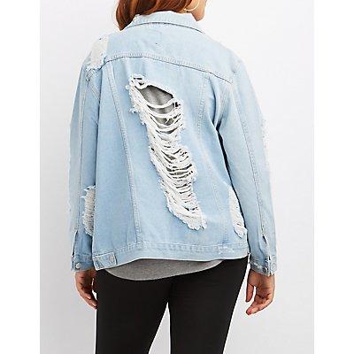 Plus Size Destroyed Oversize Denim Jacket
