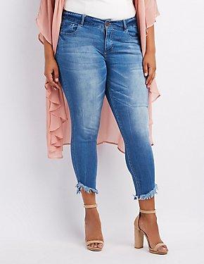 Plus Size Dollhouse Frayed Hem Skinny Jeans