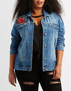 Plus Size Floral Embroidered Denim Jacket