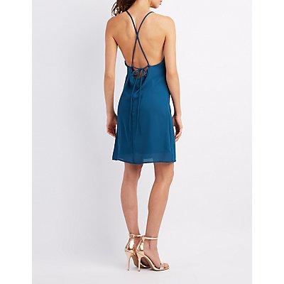 Lattice-Front Open-Back Shift Dress