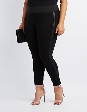 Plus Size Faux Leather-Trim Ponte Pants