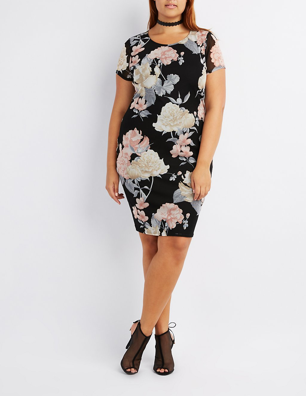 Plus Size Floral Mesh Bodycon Dress   Charlotte Russe